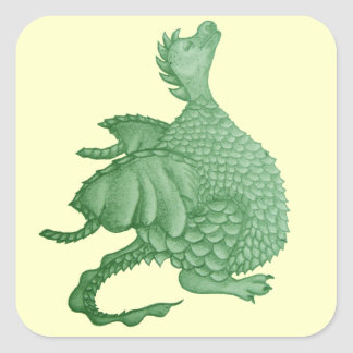cute dragon mythical and fantasy creature art square sticker