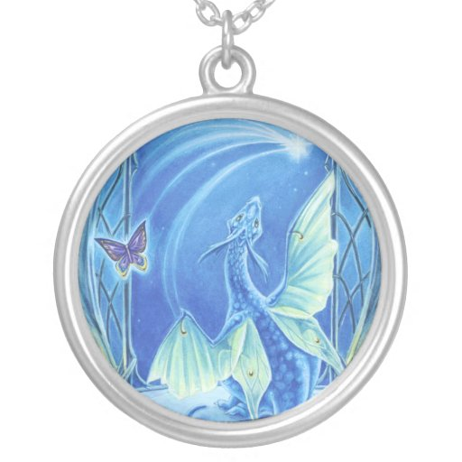 Cute Dragon Necklace Wishing on a Star
