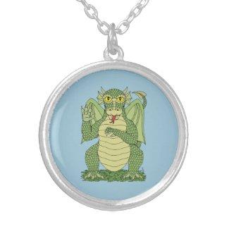 Cute Dragon Round Pendant Necklace