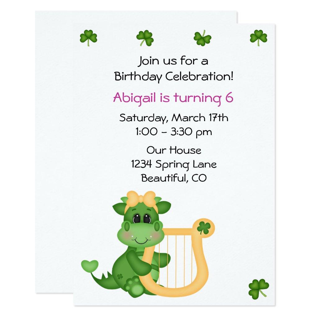 Cute Dragon St Patrick's Day Birthday Invite Girls