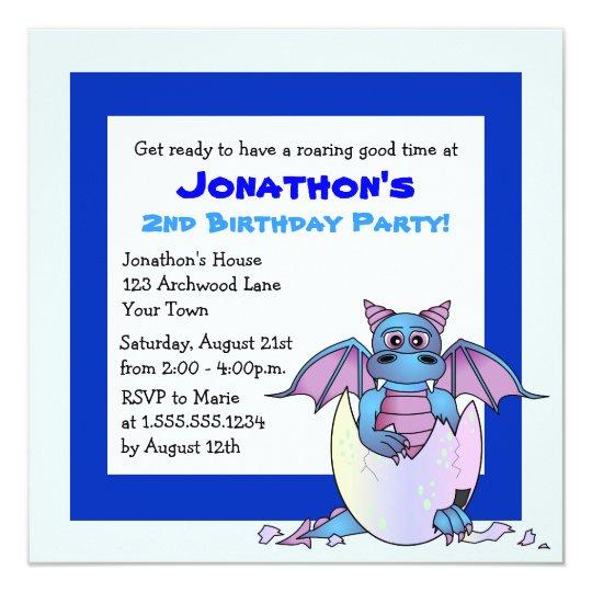 Cute Dragon Themed Child Birthday - Blue Card