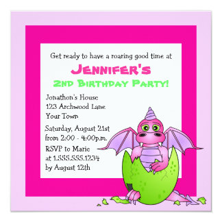 Cute Dragon Themed Child Birthday - Pink and Green Invitation