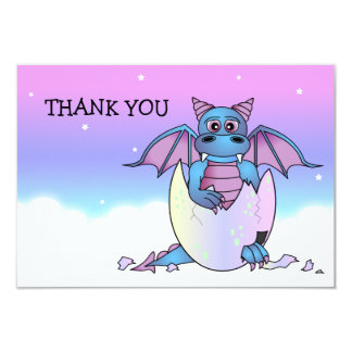 Cute Dragon Themed Thank You Flat Note Card - Blue
