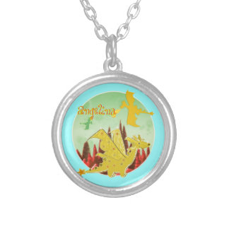 Cute Dragon with customizable Name Angelina Round Pendant Necklace