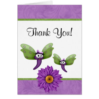 Cute Dragonflies and Flower Thank You Card