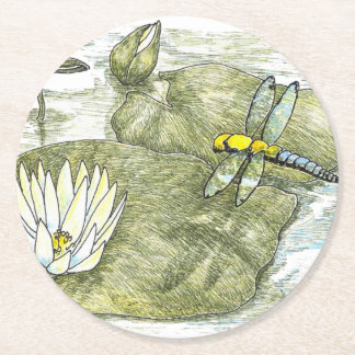 """Cute Dragonfly and Lily Pad 4"""" Round Coasters Round Paper Coaster"""