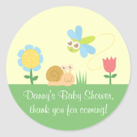 Cute Dragonfly And Snail Garden Thank You Stickers