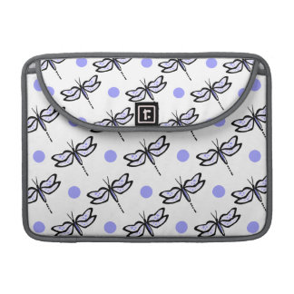 Cute Dragonfly; Lavender Purple & White Polka Dots Sleeve For MacBook Pro