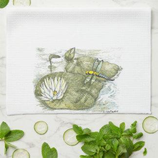 Cute Dragonfly & Lilly Pad Kitchen Cloth