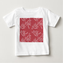 Cute dragonfly pattern of white ON red ground Baby T-Shirt