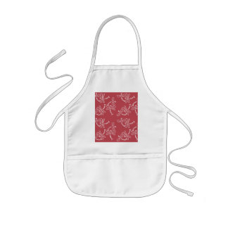 Cute dragonfly pattern of white ON red ground Kids' Apron