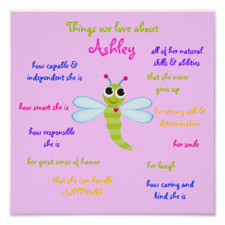 """Cute Dragonfly"" Personalized Poster for children"