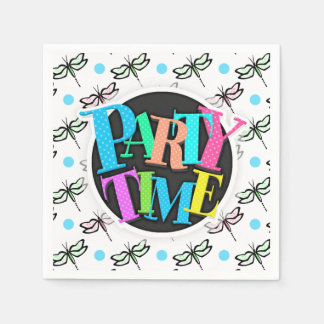 Cute Dragonfly; Pink, Green, Blue, Polka Dots Paper Napkin