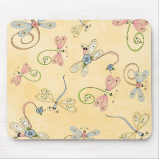 Cute Dragonfly Pink Yellow Blue Peach mouse pad