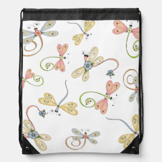 Cute Dragonfly Pink Yellow Blue Pillow Drawstring Bag