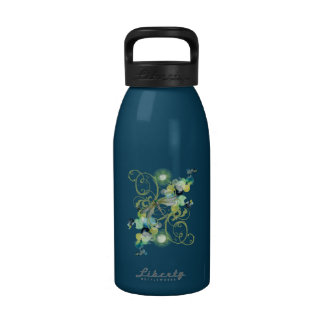 Cute dragonfly with abstract swirls chic pearls water bottles
