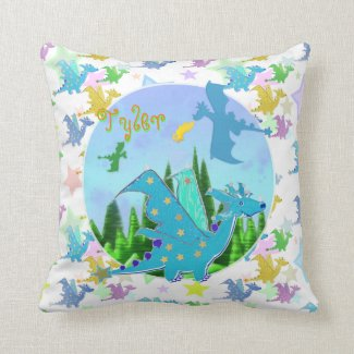 Cute Dragons with customizable Name Tyler Pillow