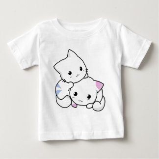 Cute Drawing of Boy and Girl Kitten in Love Baby T-Shirt