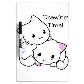 Cute Drawing of Boy and Girl Kitten in Love Dry Erase Board