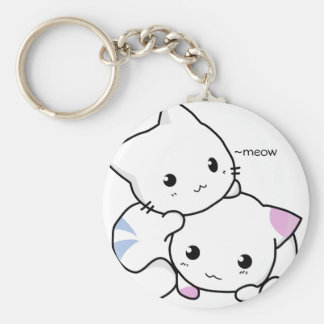 Cute Drawing of Boy and Girl Kitten in Love Keychain