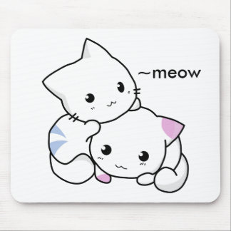 Cute Drawing of Boy and Girl Kitten in Love Mouse Pad