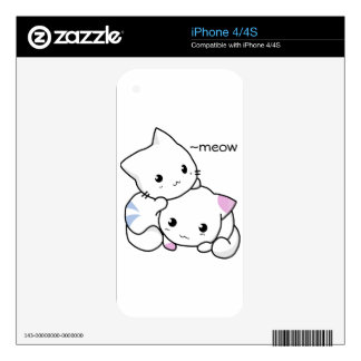 Cute Drawing of Boy and Girl Kitten in Love Skins For iPhone 4