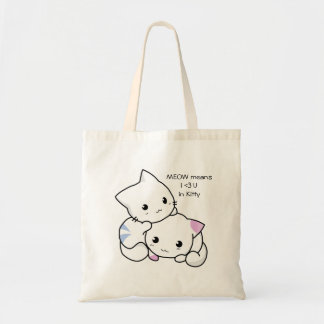Cute Drawing of Boy and Girl Kitten in Love Tote Bag