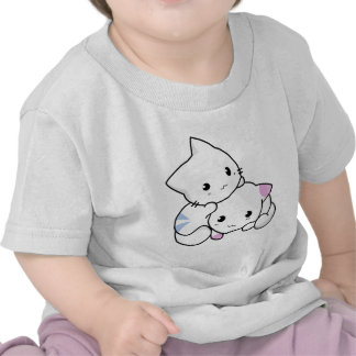 Cute Drawing of Boy and Girl Kitten in Love Shirts
