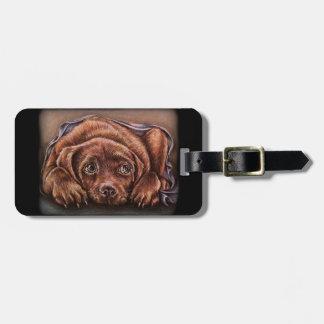 Cute Drawing of Brown Labrador Dog In Blanket Bag Tag