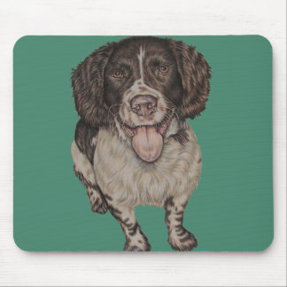 Cute Drawing of Happy Spaniel Mouse Pad