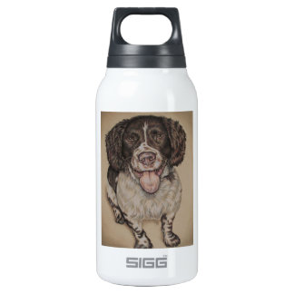 Cute Drawing of Happy Spaniel on Liberty Bottle
