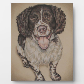Cute Drawing of Happy Spaniel on Plaque with Easel