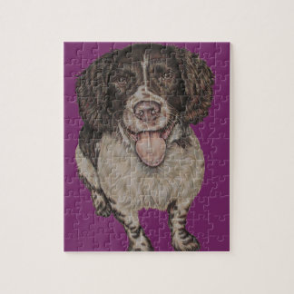Cute Drawing of Happy Spaniel on Puzzle