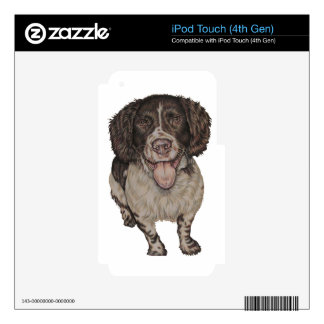 Cute Drawing of Happy Spaniel iPod Touch 4G Skins