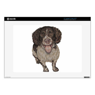 Cute Drawing of Happy Spaniel Laptop Skins