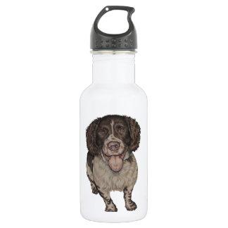 Cute Drawing of Happy Spaniel Water Bottle