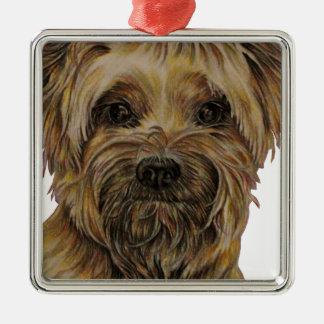 Cute Drawing of Happy Yorkie Silky Metal Ornament