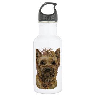 Cute Drawing of Happy Yorkie Silky Stainless Steel Water Bottle