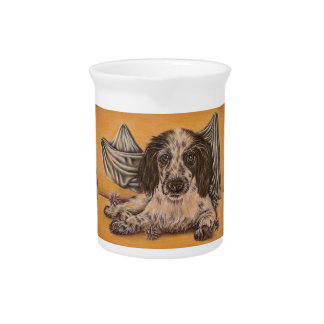 Cute Drawing of Spaniel Dog Beverage Pitchers