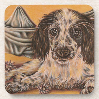 Cute Drawing of Spaniel Dog Drink Coaster