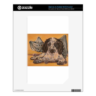 Cute Drawing of Spaniel Dog Decals For NOOK Color