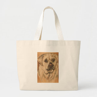 Cute Drawing of White Lab Puppy Dog Canvas Bags