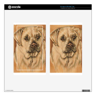 Cute Drawing of White Lab Puppy Dog Kindle Fire Skin