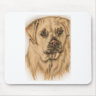Cute Drawing of White Labrador Dog Mouse Pad