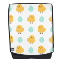 Cute drawn yellow chick and egg easter pattern backpack