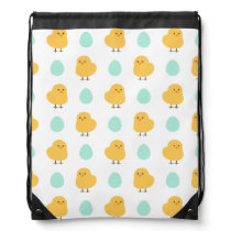 Cute drawn yellow chick and egg easter pattern drawstring backpack