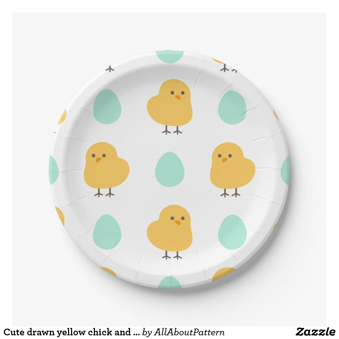 Cute drawn yellow chick and egg easter pattern paper plate