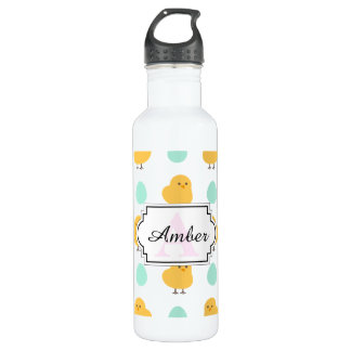 Cute drawn yellow chick and egg easter pattern stainless steel water bottle