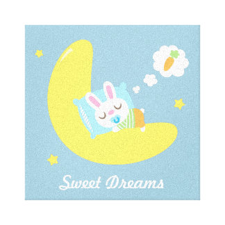 Cute Dreamland Baby Bunny Kids Nursery Room Decor Canvas Print