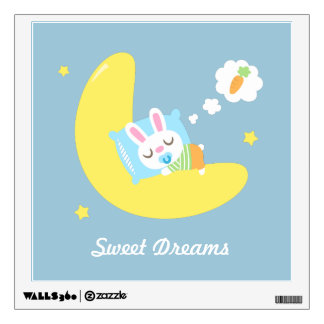 Cute Dreamland Baby Bunny Kids Nursery Room Decor Wall Decal